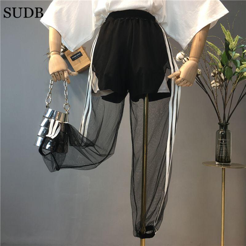 SUDB High Waist Pants Beach Trousers Transparent Trousers Sportswear Pants For Women Summer Female Costume Transparent Pants