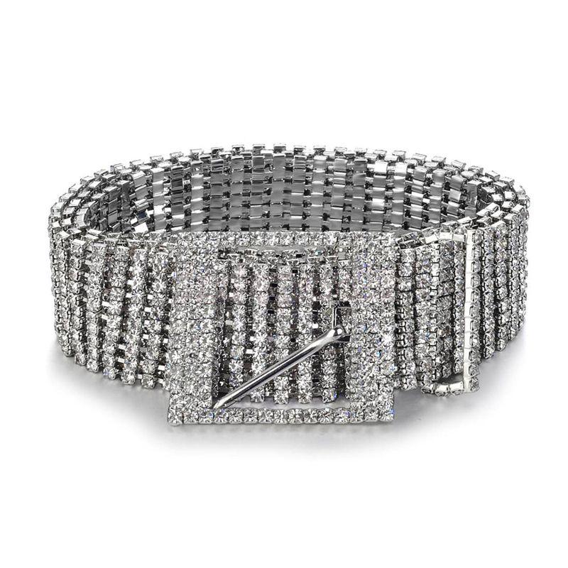 Brand metal chain belts Women Diamante crystal Chain Belt Full Rhinestone bride wide <font><b>Bling</b></font> Female Waist Belt