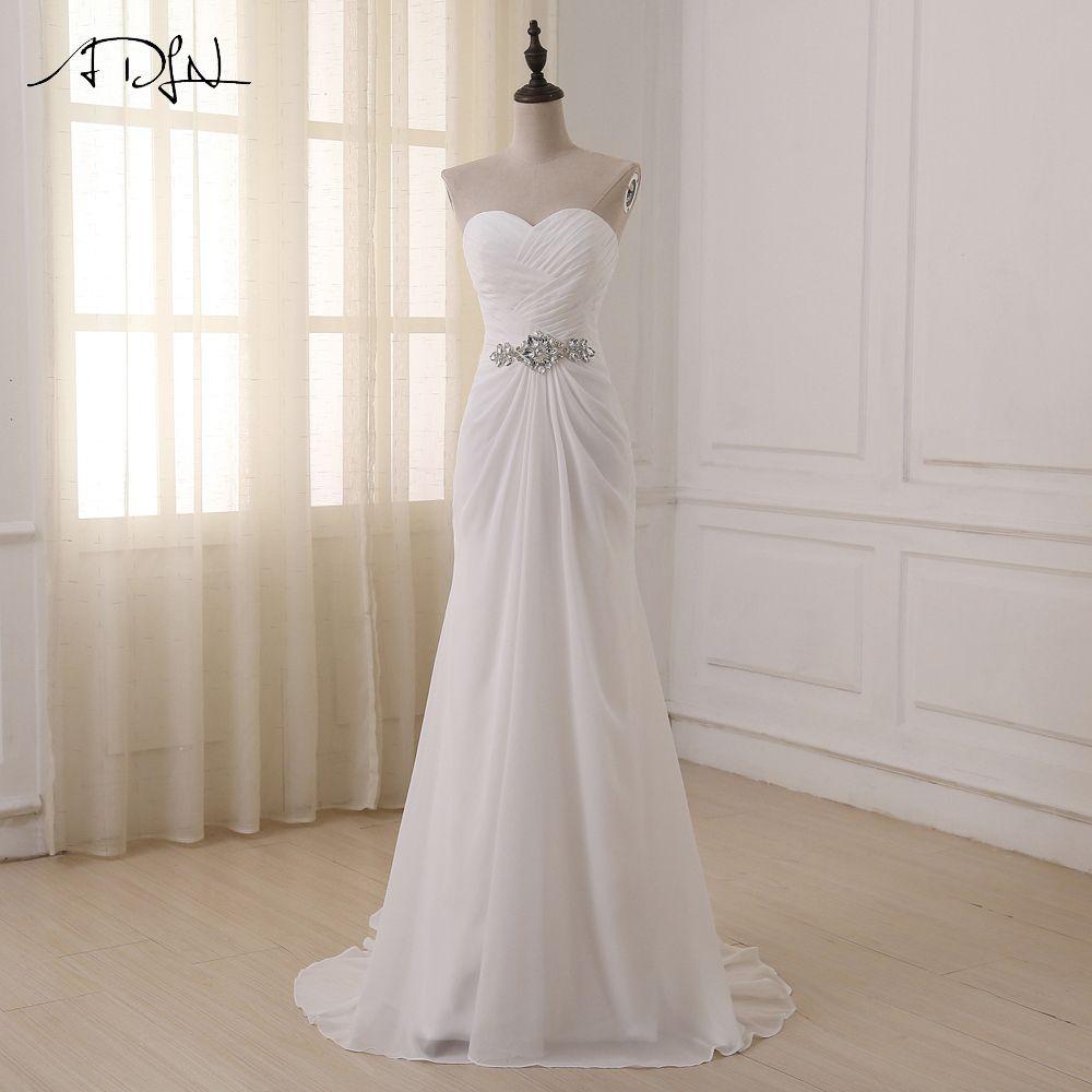 ADLN robes de mariée chérie sans manches robes de Noiva Sexy balayage Train d'été plage robes de mariée grande taille en Stock