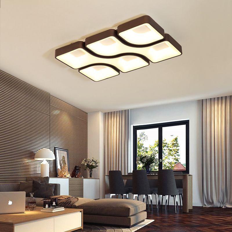 NEO Gleam Weiß/Grau/Braun Finish Platz Moderne Led-deckenleuchten Für Wohnzimmer Schlafzimmer Studie Zimmer Rechteck decke Lampe