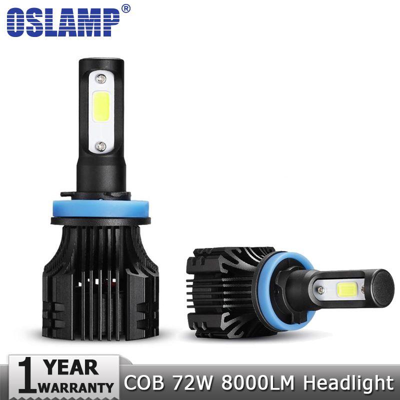 Oslamp 72W COB LED Car <font><b>Headlight</b></font> Bulbs H4 H7 H11 H1 H3 9005 9006 9007 Hi-Lo Beam 8000lm 6500K Auto Headlamp Fog Light DC12v 24v
