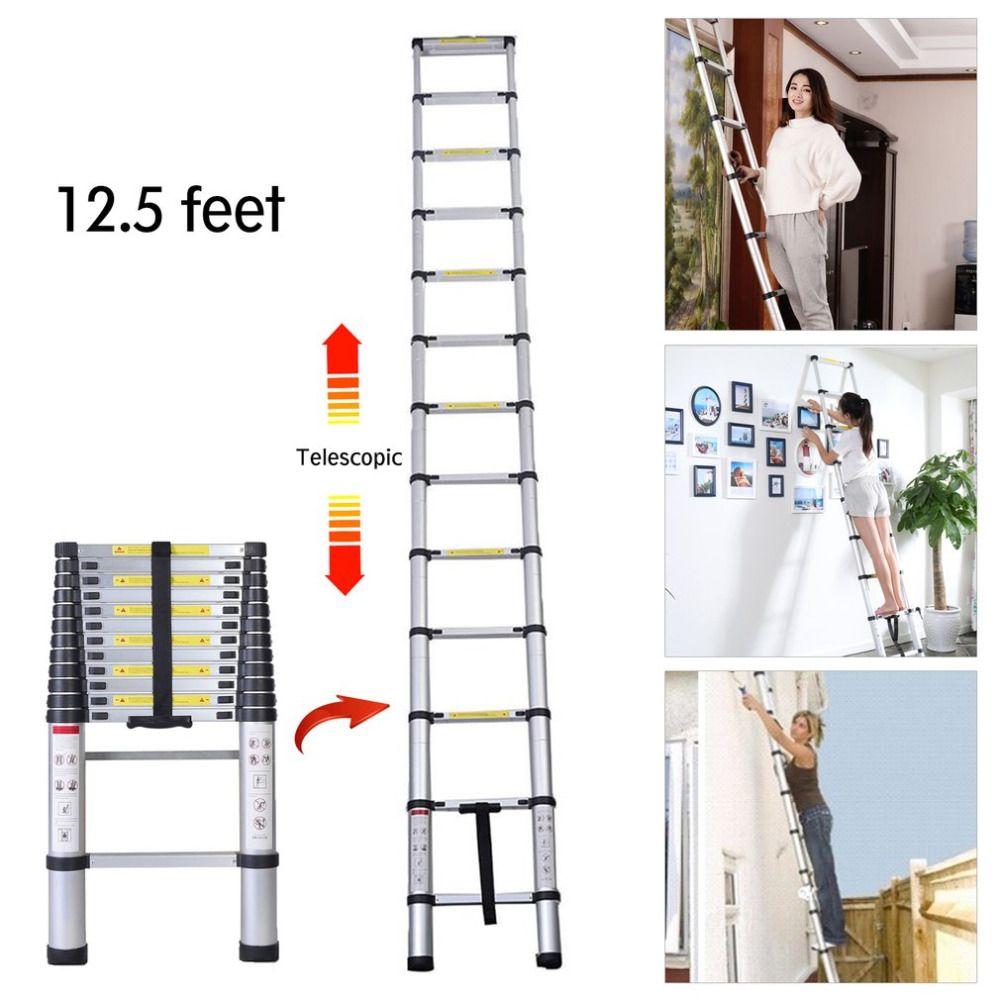 3.8 Meter 12.5ft Excellent Quality Folding Climb Aluminum Telescopic Step Ladder Multi Purpose Non Slip Step Ladder