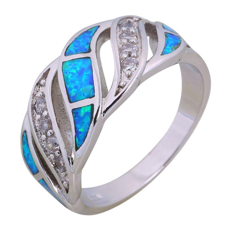 Bague de mariage 925 bagues en argent Sterling pour femmes bague opale bleue bijoux en argent pour femmes taille 6 7 8 9 10 R599