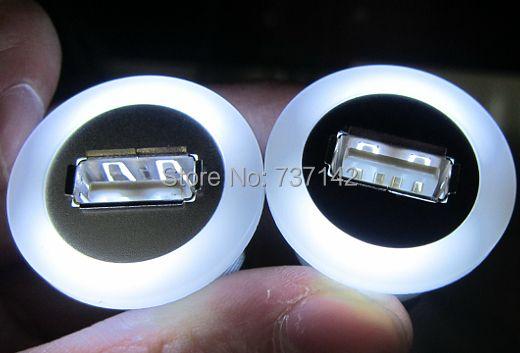 Diamètre de montage 22mm métal USB2.0 femelle A à mâle A avec lumière