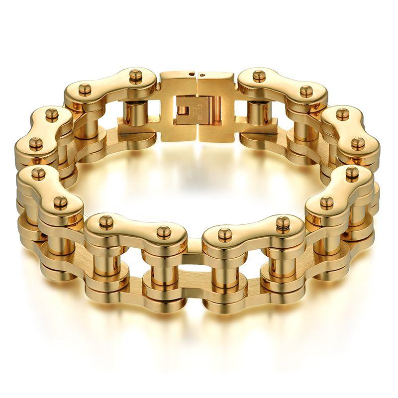 Men Jewelry Cool Men Bracelet Gold Color Stainless Steel Male Bracelets Biker Bicycle Motorcycle Chain Men's Bracelets & Bangles
