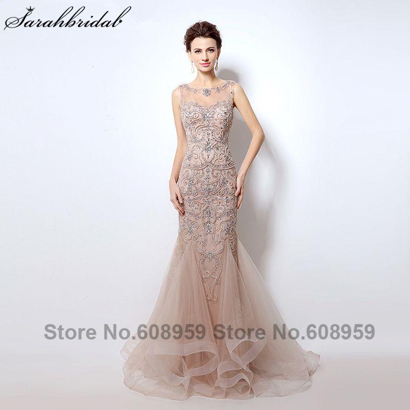 Luxury Rhinestone Mermaid Dubai Long Evening Dresses 2018 New Blush Crystal Beading Pearl Sheer Prom Dress Robe De Soiree LSX006