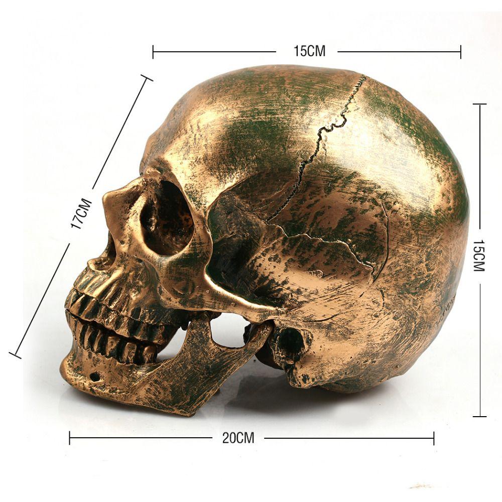 P-Flame Bronze <font><b>Human</b></font> Skull Resin Crafts Life Size 1:1 Model Modern Home Decor Imitation Metal Decorative Skull