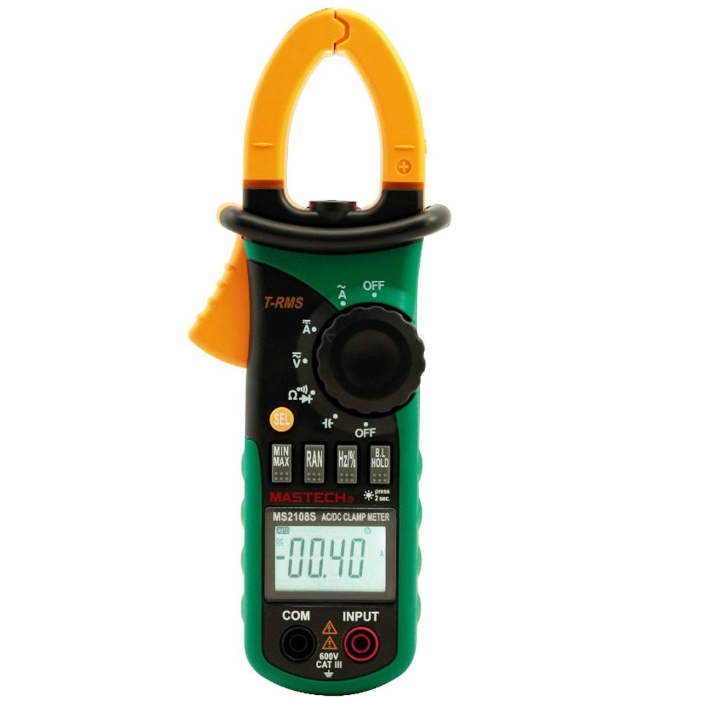 MASTECH MS2108S True RMS 6600 counts Digital AC DC Current 600A Clamp Meter Multimeter Capacitance Frequency Inrush Tester