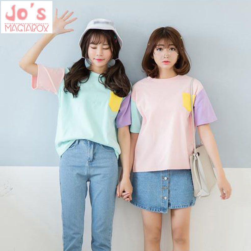 Style d'été mode Harajuku femmes t-shirts Kawaii coton à manches courtes t-shirts dames mignon hauts t-shirts rose