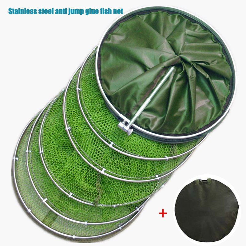 Universal Fishing Net Stainless Steel Double Ring Fish Care Anti-hanging Net Tool for Fishing 88 B2Cshop