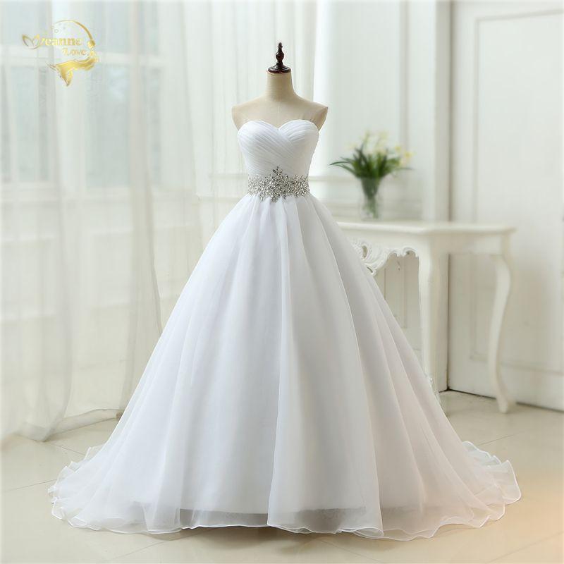 Hot Sale White Vestido De Noiva 2018 New Design A line Perfect Belt Robe De Mariage Strapless Lace Up Wedding Dresses OW 7799