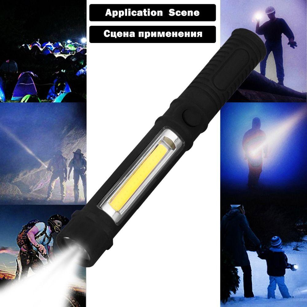 COB LED Flashlight Hand Torch lamp Working Inspection Lights Multifunction Maintenance Portable Camping Lantern Light Wiht AAA