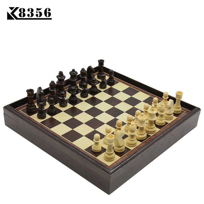 K8356 Heißer Brettspiel Holz-schachspiel Box Holztisch Umweltschutz Natürliche Grüne Wasser Farbe Desktop 310*310*53mm