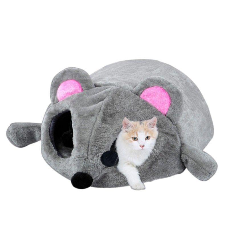 Новинка 2017 года серый Мышь форма кровать Малый Товары для кошек Товары для собак пещере кровать съемный поцелуи Водонепроницаемый дно Кошк...