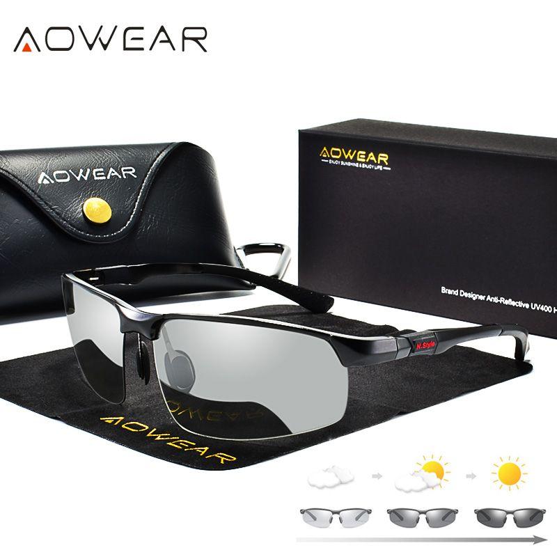 AOWEAR Photochromiques lunettes de Soleil Hommes Polarisées Caméléon Lunettes Mâle Changement Couleur Soleil Lunettes HD Jour Nuit Vision Conduite Lunettes
