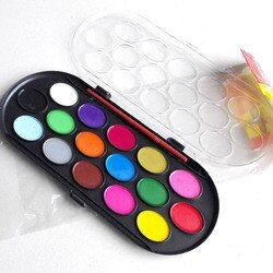 16 Colors Professional Solid Watercolor Paints Paint Box with Paintbrush Bright Color Portable Sketch Color Art Tool Art Supply