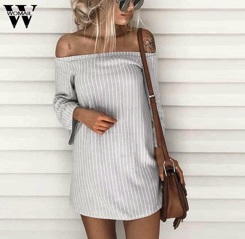 Women Pullover Striped T-Shirt Dress 2017 Summer Causal Long Sleeve Slash Neck Off Shoulder Mini Dress Vestidos ST04