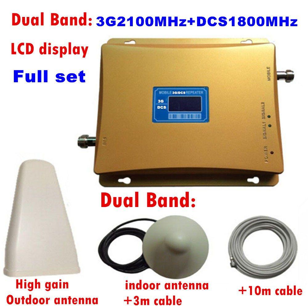 Verstärkung 70dB GSM REPEATER 2100 & 1800 Dual Band zelluläre verstärker gsm 3G 4G WCDMA 2100 LTE 1800 Mobilen Signalverstärker lcd display