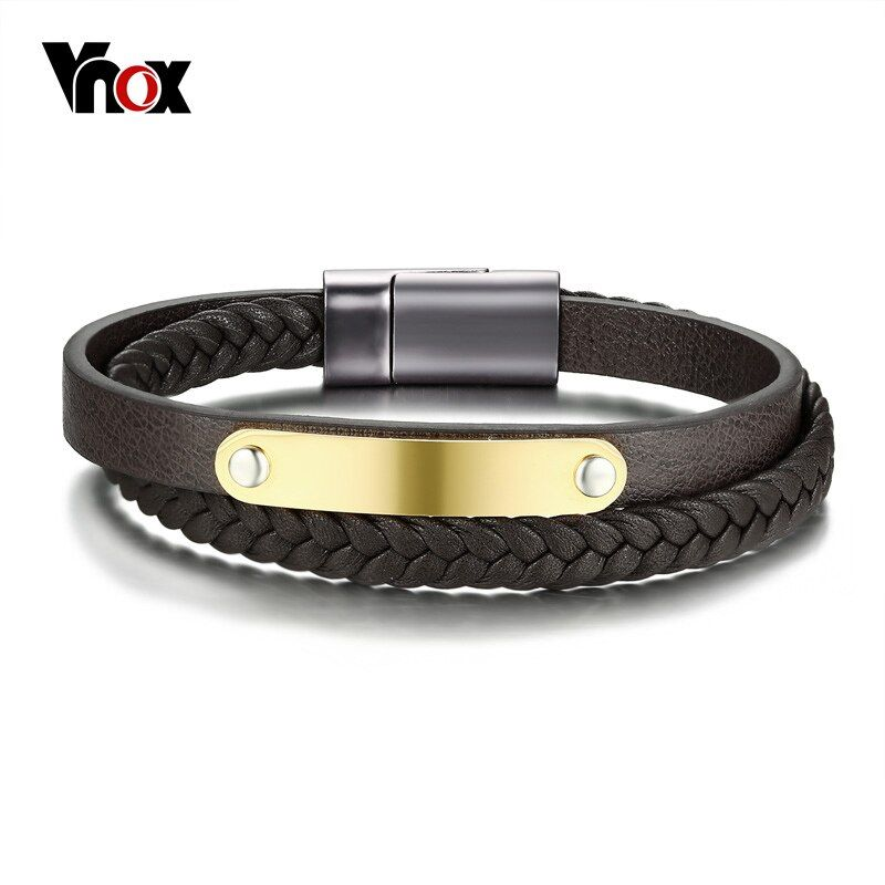 Vnox punk mens Cuero auténtico pulsera de oro de color de acero inoxidable ID Tag pulsera para hombres joyería diaria pulseira masculina