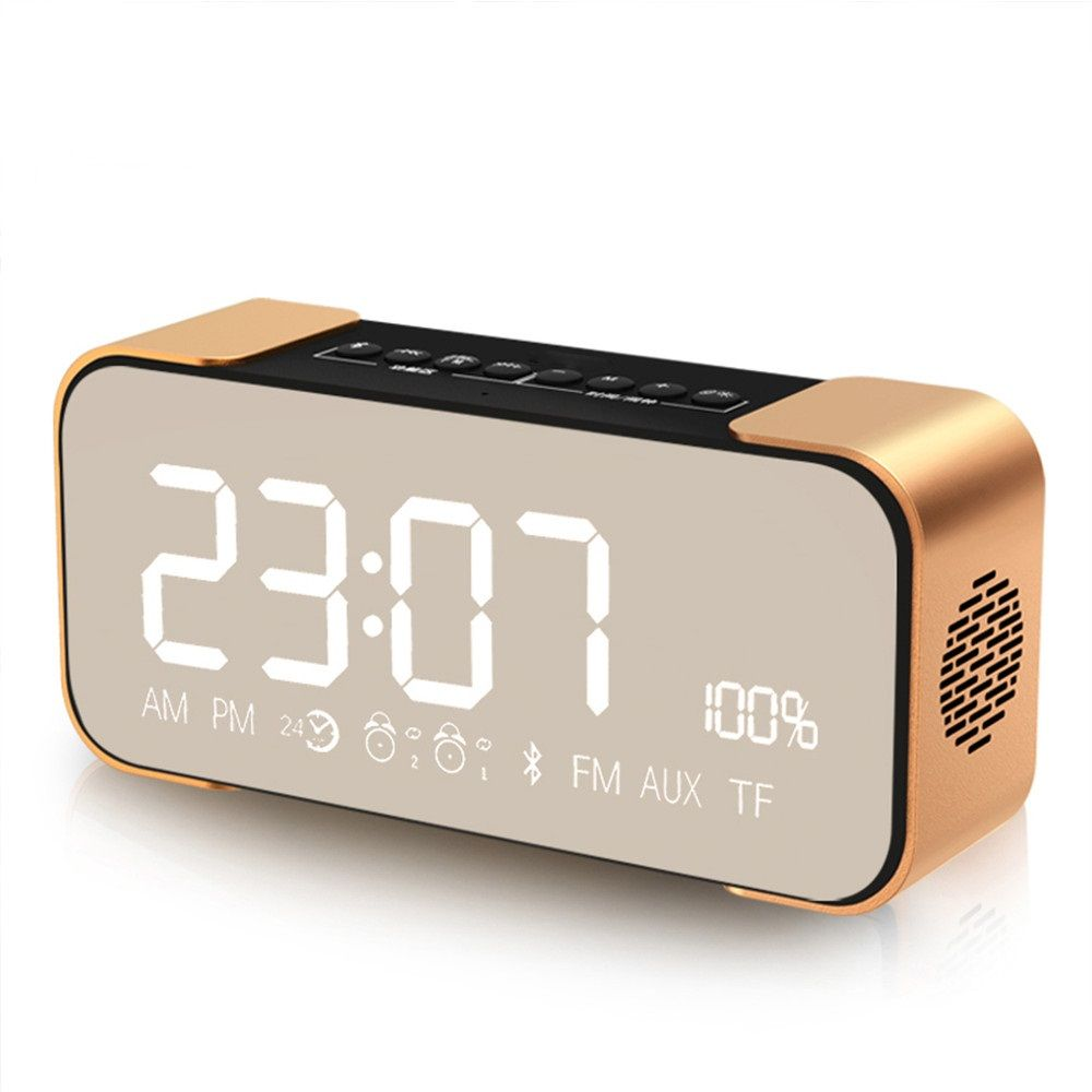 Portable Bluetooth Sound Box Wireless Speaker Stereo Super Bass Receiver Support FM Radio TF Car AUX Alarm Clock For TV Computer