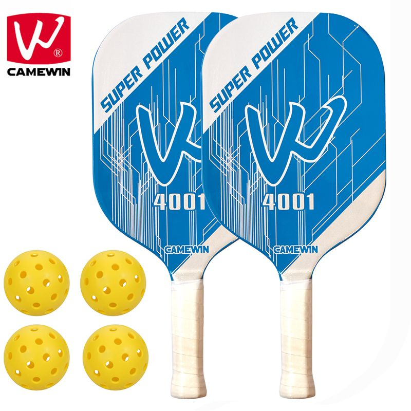 CAMEWIN Brand Pickleball Paddle   Set Includes Two Pickleball Paddles + Four Balls + Two Carrying Bag   Pickleball Racket Sets