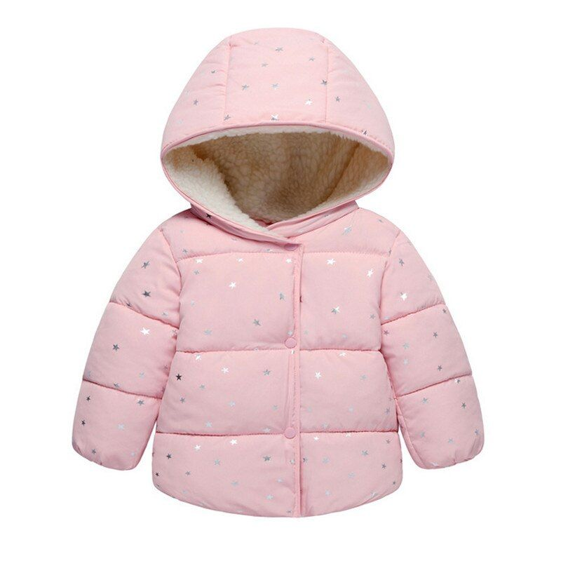 Autumn Winter Baby Outerwear Infants Girls Hooded Printed Princess Jacket Coats first <font><b>birthday</b></font> Gifts Cotton Padded Clothes