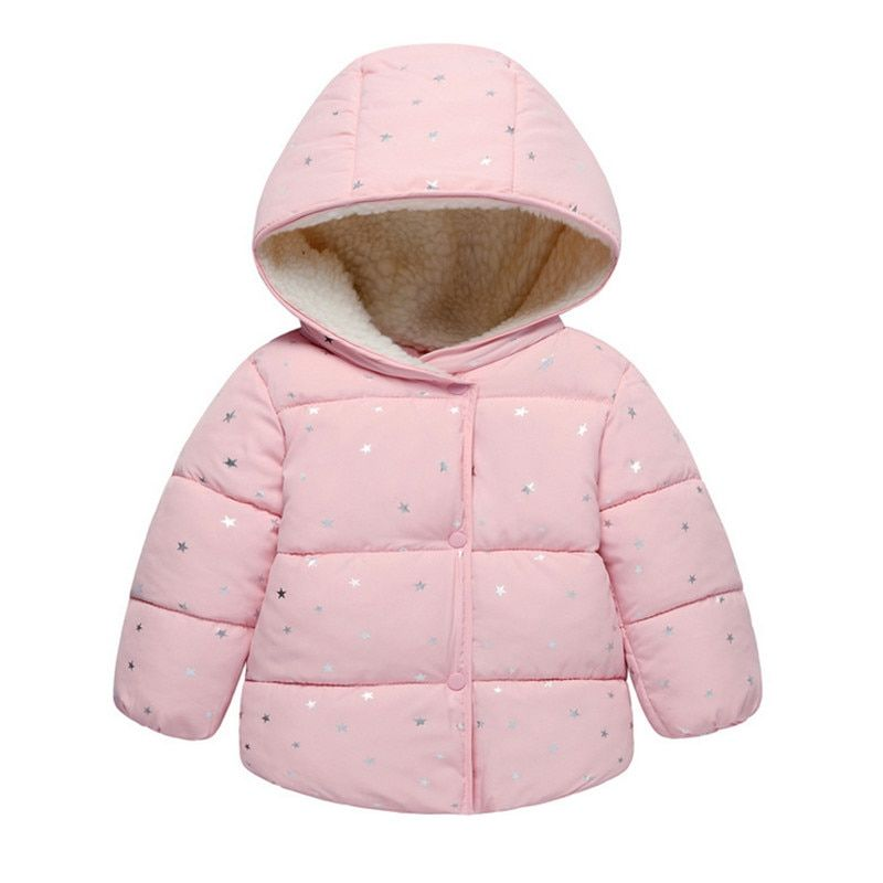 Autumn Winter <font><b>Baby</b></font> Outerwear Infants Girls Hooded Printed Princess Jacket Coats first birthday Gifts Cotton Padded Clothes
