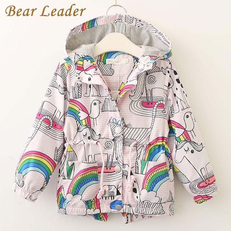 Bear Leader/Пальто и куртки для девочек Дети осень 2017 г. Брендовая детская для Обувь для девочек одежда с принтом верхняя одежда с капюшоном для О...