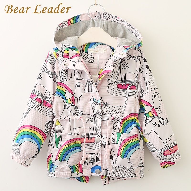 Bear Leader Girls Coats and Jackets Kids 2018 Autumn <font><b>Brand</b></font> Children For Girls Clothes Cartoon Print Outerwear Hooded For 3-7Y