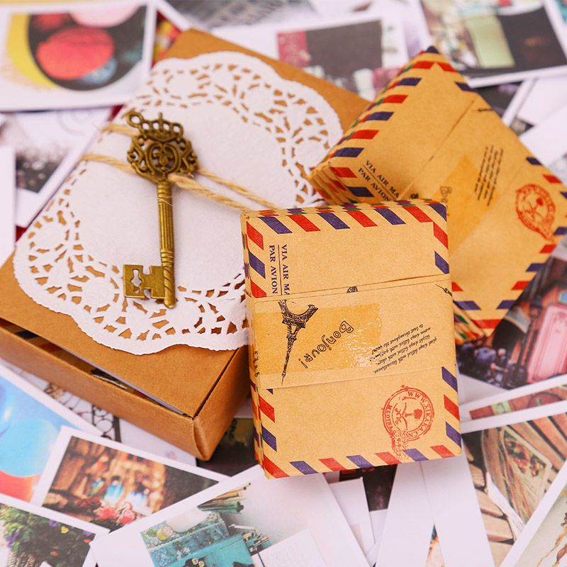 60 Cards+60 Envelope+60 Stickers in one set LOMO mini Greeting Card Postcard Birthday Letter Envelope Gift Card Set Message Card