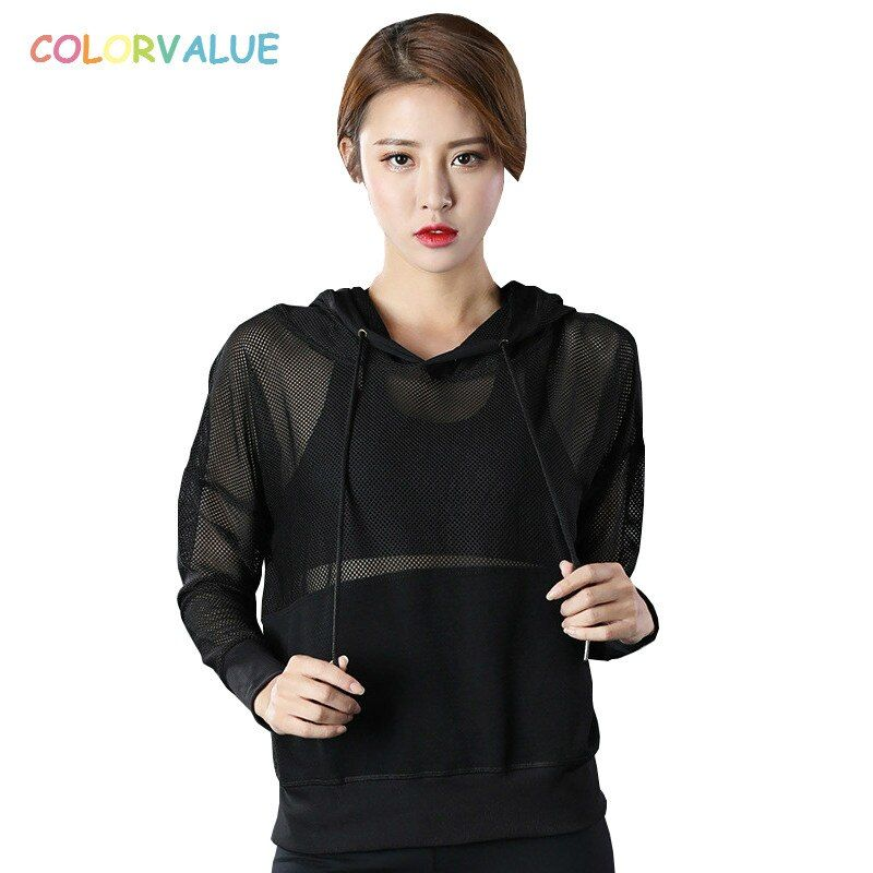 Colorvalue Loose Mesh Sport Gym Shirt Long Sleeve Women Plus Size Hooded Fitness Yoga Top Sexy Workout Sweatshirt with Pocket