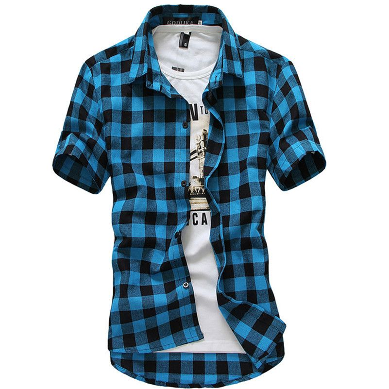 Domeef Men's Plaid Check Short Sleeve Casual Shirt Male Summer Slim Fit Tees M-3XL