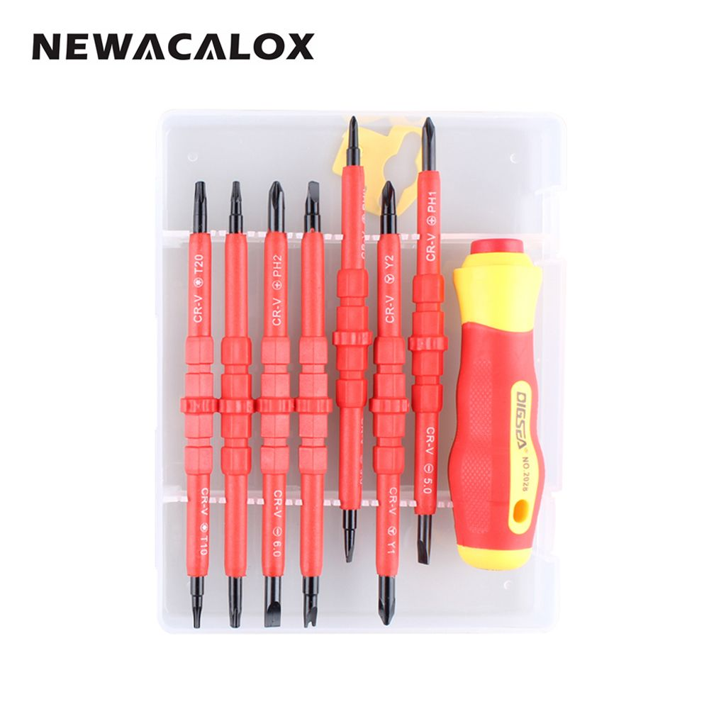 NEWACALOX 15 In 1 Magnetic <font><b>Precision</b></font> Screwdriver Set DIY Hand Tool Kit Torx Cross Flat Y U-Shape Slotted Screw Driver for Laptop