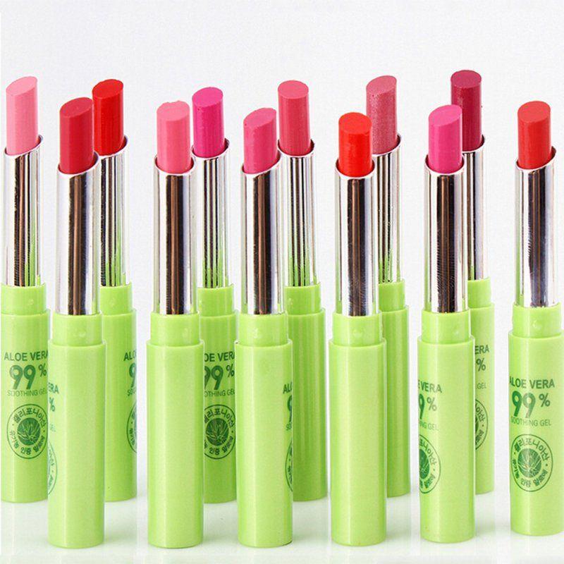 12 Pcs/Pack Femmes Cosmétique Maquillage Aloe Hydratant Imperméable Rouge À Lèvres Rose Couleur Orange de Rouge À Lèvres