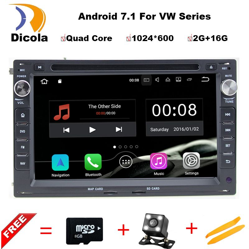 Free shipping 2GB RAM Android 7.1 Car DVD For VW Golf4 Polo PASSAT B4 B5 Bora for Octavia1 superb WiFi OBD car stereo 2din golf4