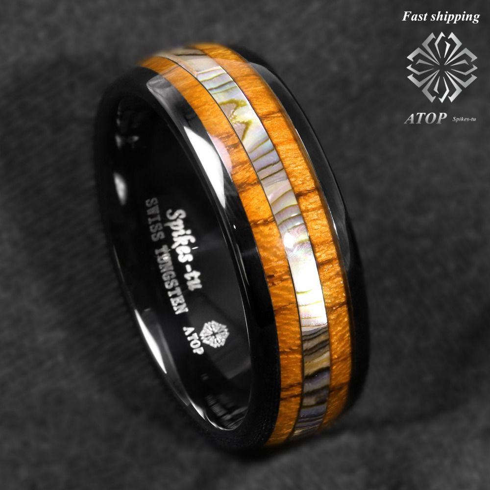 8mm Black Tungsten carbide ring Koa Wood Abalone ATOP Wedding Band Men's Jewelry