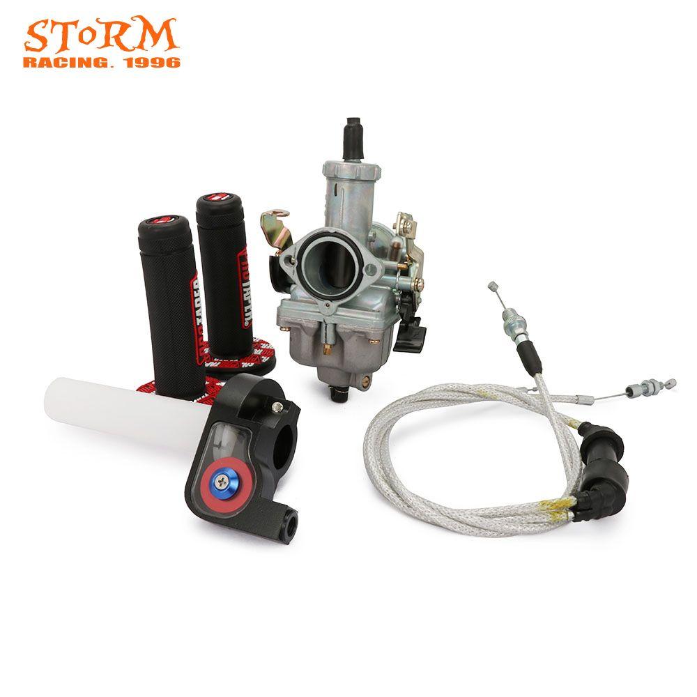 PZ30 30mm Accelerating Pump Carburetor Dual Cable Throttle Pro Taper Grips For Keihin CB CG 200CC 250CC