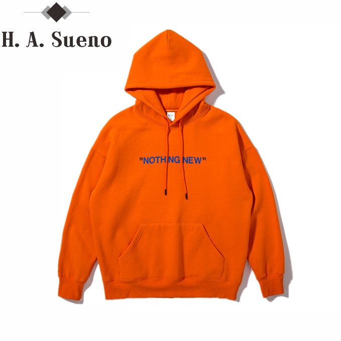 H.A. Sueno 2017 new autumn orange and simple English printing pocket Hoodie high street Mens Hoodies And Sweatshirts