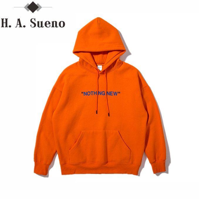 H.A. Sueno 2017 nouveau automne orange et simple Anglais impression poche À Capuche haute rue Mens Hoodies Et des Pulls Molletonnés