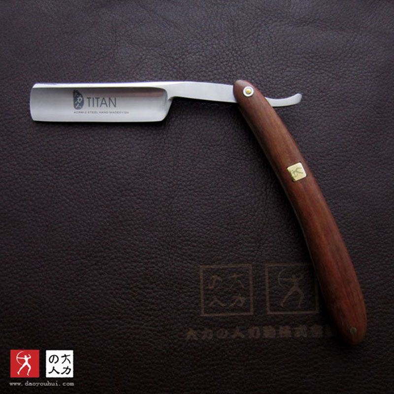 Titan Wooden handle razor shaving knife straight razor blade sharp already free shipping