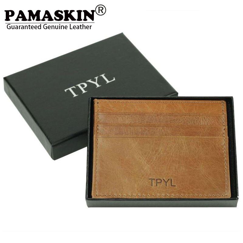 PAMASKIN RFID Blocage Protection Unisexe Carte et Supports D'IDENTIFICATION Véritable En Cuir Ultra-mince Carte de Crédit Universelle Cas Portefeuilles Sacs À Main