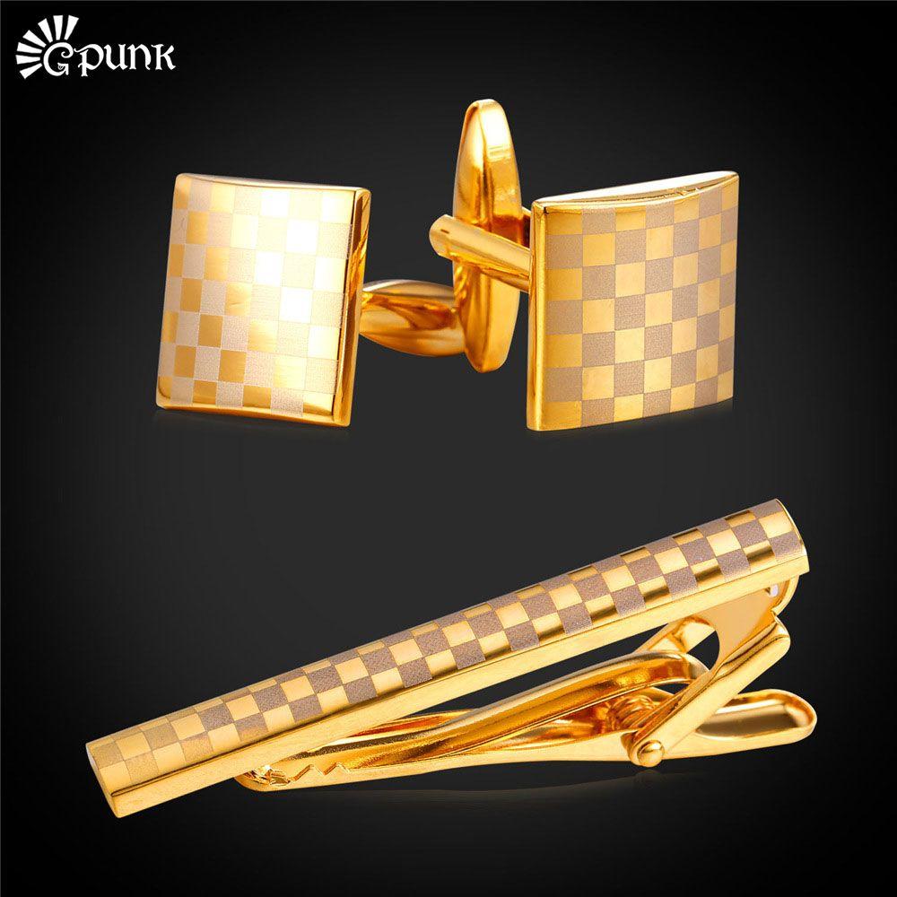 Brand necktie tie clips & cufflinks set With Gift Box gold color cuff button men wedding cuff link valentine's day gift for men