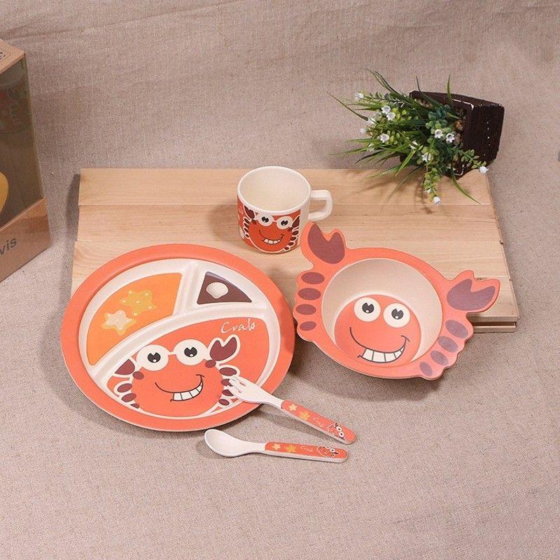 Nouveau 5 pièces/ensemble Animal crabe bébé assiette arc tasse fourchettes cuillère vaisselle ensemble d'alimentation, 100% bambou fibre bébé enfants vaisselle ensemble