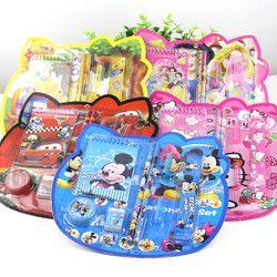 cheap Cartoon Kawaii notebook Pencil Ruler Earser Sharpener 8 In 1 Stationery Set For Boy Girls Kids Gift School prizes