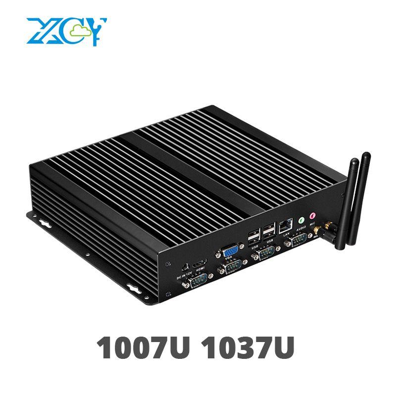 XCY Fanless Mini PC mit Dual Gigabit LAN 4 Serielle RS232 COM Ports 8 USB HDMI VGA Intel Celeron 1037U 1017U Windows 10 Linux