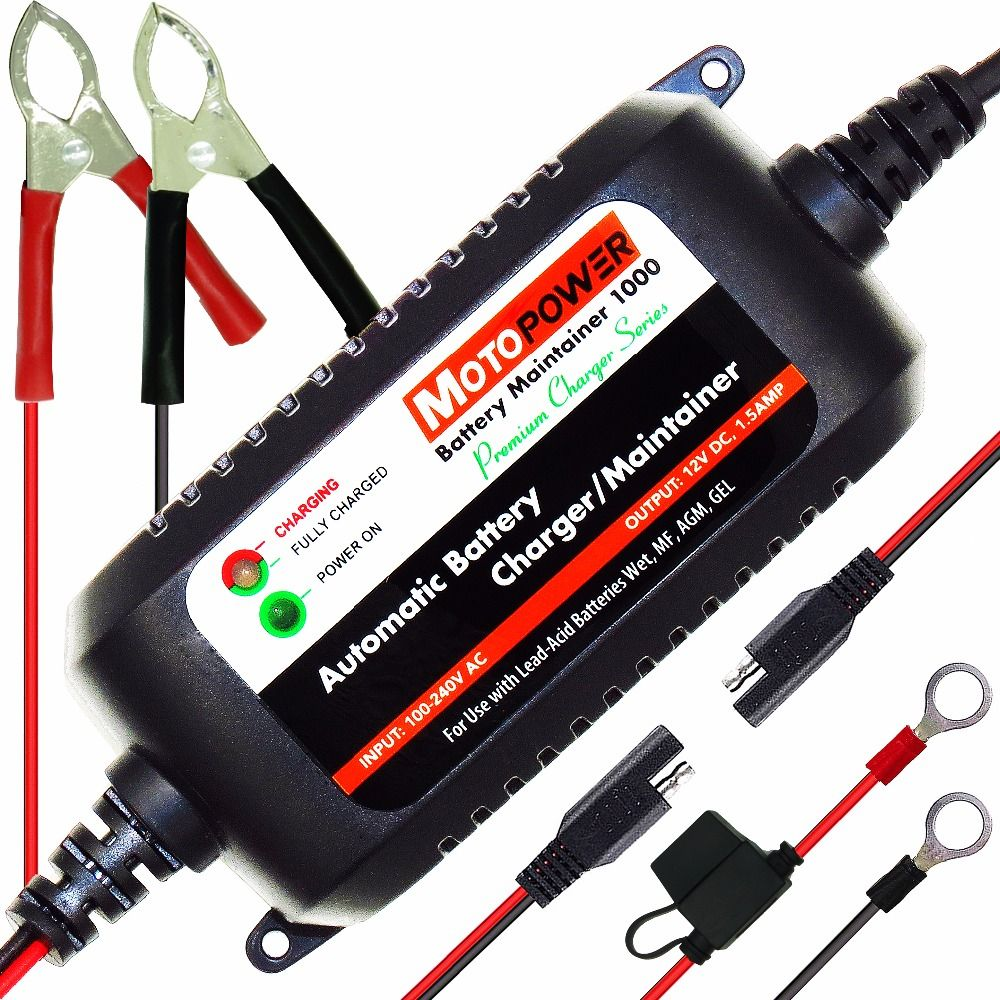 MOTOPOWER 12V 1.5A Fully Automatic Smart Battery Charger Maintainer for Car Truck Boat Motorcycle all types Lead Acid Batteries