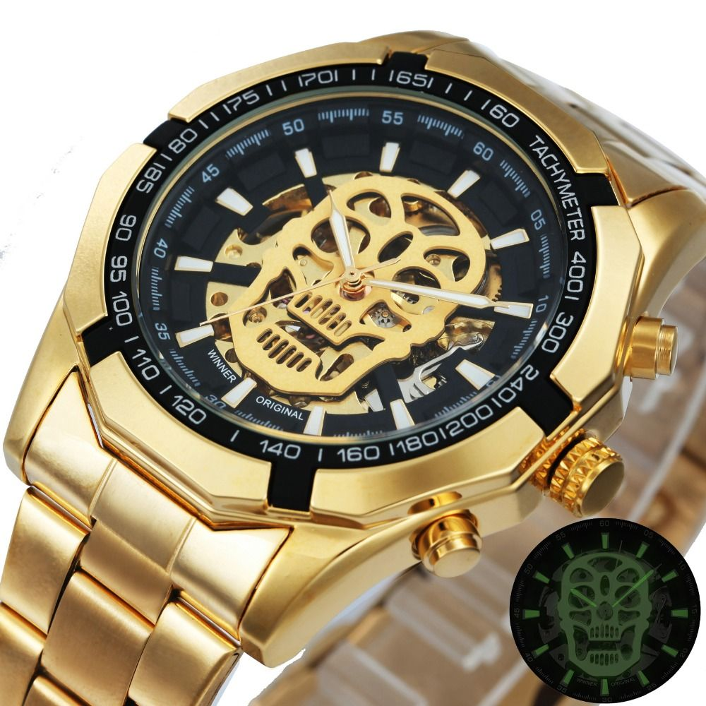 WINNER Classic Golden Skeleton Mechanical Watch Men Stainless Steel Strap Watches Top Brand Luxury Vip Drop Shipping Wholesale