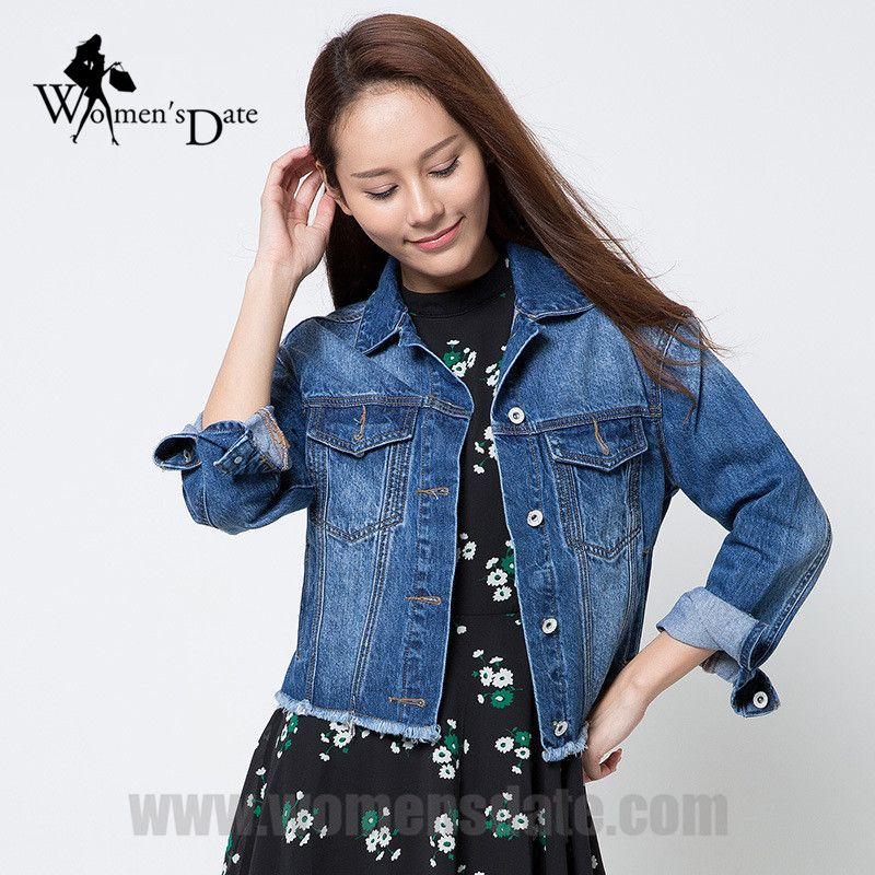 WomensDate 2016 Newest Casual Janes Jackets Cotton Loose Jacket Short Jean For Women Tassel Denim Jacket Coats Free Shipping