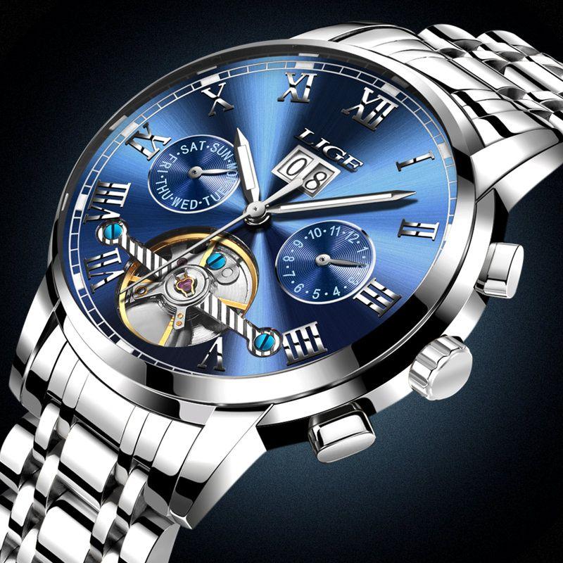 Uhren LIGE Männliche Automatische mechanische Sportuhr Männer Luxury Brand Kinderuhren männer Armbanduhr armee Uhr relogio masculino