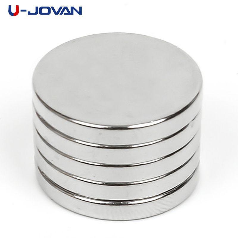 U-JOVAN 5pcs 20 x 3mm N50 Mini Super Strong Rare Earth Fridge Permanet Magnet Small Round Neodymium Magnet